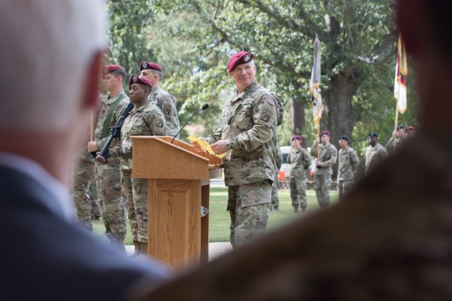 "Lt. Gen. Paul J. LaCamera, the outgoing XVIII Airborne Corps commanding general, addresses the crowd after relinquishing command of the XVIII Airborne Corps at the main post flagpole at Fort Bragg, N.C., Oct. 7, 2019. LaCamera turned over command of the corps to Lt. Gen. Michael ""Erik"" Kurilla. (U.S. Army Photo by Spc. Adam M. Manternach, 22nd Mobile Public Affairs Detachment)"