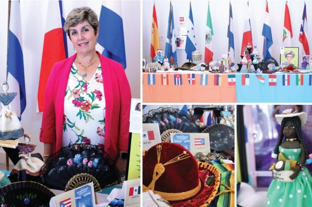 U.S. Army Chemical Materials Activity Physical Scientist Carmen Adrover provides cultural displays from her personal collection for the National Hispanic Heritage Month observance event Oct. 2, 2019 at Aberdeen Proving Ground, Md. Her display included colorful Mexican Mariachi hats, Spanish hand fans, dolls from different Hispanic countries and paintings from artists in Puerto Rico. (U.S. Army photo by Jessica Tayson)