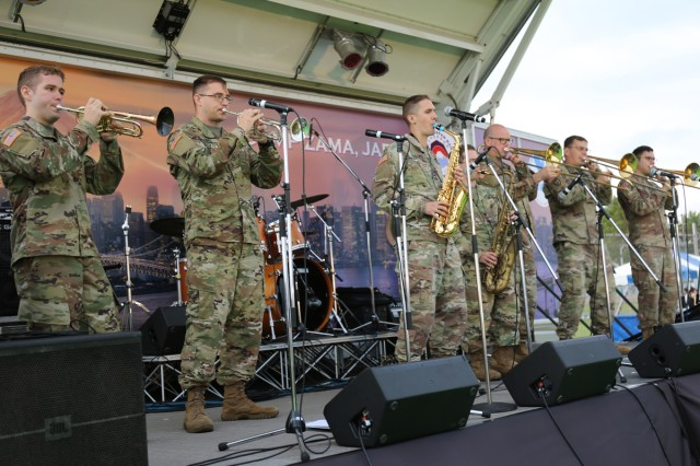 U.S. Army Japan Band members perform onstage Oct. 6 on Sagami General Depot, Japan, during the Fall Festival, an annual open-post event that brought nearly 9,000 visitors to the installation this year.