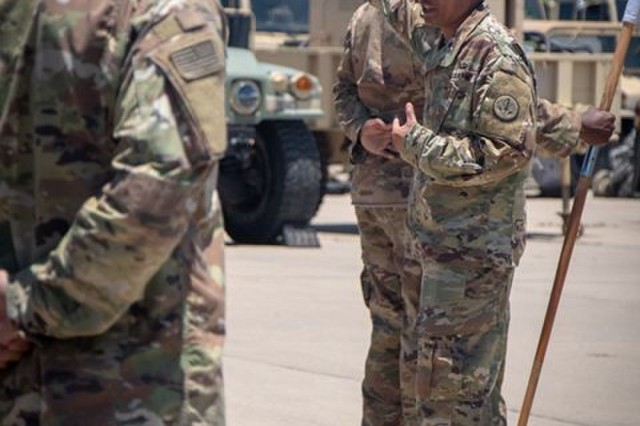 Regimental Support Squadron Commander, Lt. Col. Danilo Green, 3rd Cavalry Regiment, speaks with the troopers on their progress as the regiment prepares for their upcoming rotation to the National Training Center at Fort Irwin, Calif. in mid-October. (U.S. Army photo by Sgt. Rene Rosas)