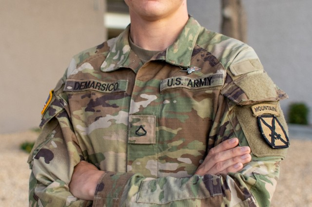 U.S. Army Pvt. 1st Class Thomas F. DeMarsico, a combat medic assigned to headquarters and headquarters company, 2nd Infantry Battalion, 4th Infantry Regiment, 3rd Brigade Combat Team, 10th Mountain Divsion at Fort Polk, Louisiana, poses with his new expert field medical badge in El Paso, Texas, Oct. 6, 2019. DeMarsico earned the EFMB Oct. 4, 2019 at Fort Hood, Texas after initially failing EFMB testing at Fort Biss the month prior. DeMarsico has since been promoted to specialist.