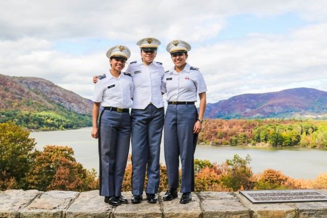 Class of 2023 Cadet Leslie Rodriguez-Diaz, Class of 2022 Cadet Eliana Vargas and Class of 2021 Cadet Nathania Nuño are each the first member of their family to attend a four-year college directly from high school.