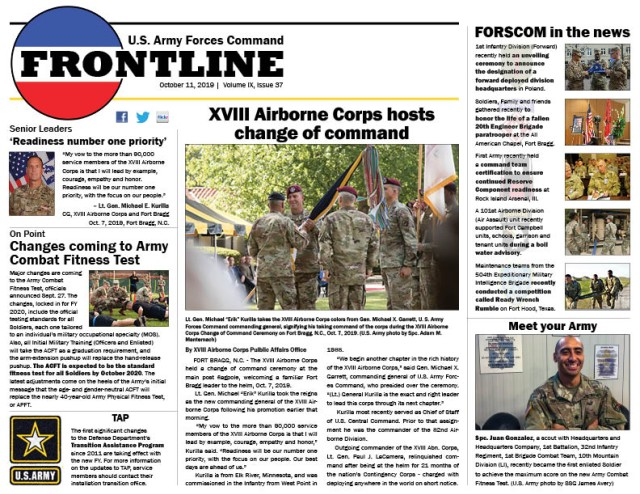 FORSCOM FRONTLINE, Volume IX, Issue 37