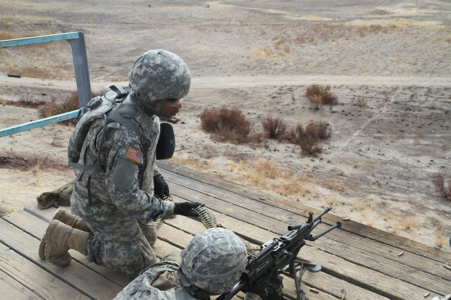 U.S. Army Reserve Pfc. Vontravian Sims, feeds ammunition to U.S. Army Reserve Sgt. Gustavo Salazar's M240B machine gun during qualification at Fort Hunter Liggett, Calif., Oct. 31, 2017, during Operation Cold Steel II. America's Army Reserve has designed this large-scale training exercise to ensure its units and Soldiers are ready to mobilize, deploy quickly, and fight fast anywhere in the world. Sims and Gustavo are both from the 412th Theater Engineer Command based in Vicksburg, Miss.