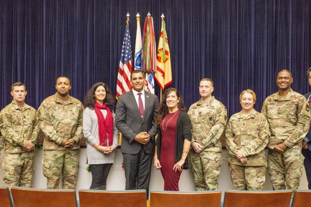 The Honorable Francisco Ureña, secretary of the Massachusetts Department of Veterans' Services, alongside the National Hispanic Heritage Month committee following the observance held on Oct. 9, 2019.