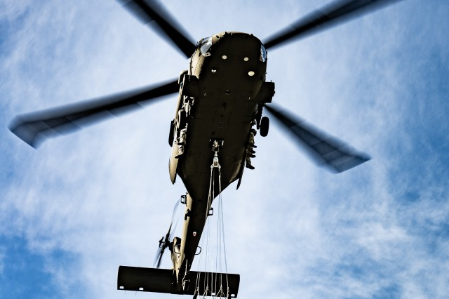 Members of the West Virginia Army National Guard's (WVARNG) Company C, 1st Battalion, 150th Aviation Regiment completed Bambi Bucket training for three aircrews consisting of 12 Soldiers at Camp Dawson, West Virginia, Oct. 10, 2019. This type of familiarization training ensures that aircrew members can successfully link up with civilian firefighting agencies to provide a response to wildfire incidents in the State of West Virginia.