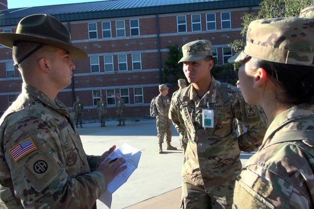 Staff Sgt.  Matthew T. Martinez, U.S. Army Intelligence Center of Excellence manages administrative tasks for Soldiers from the 309th Military Intelligence Battalion to class at Fort Huachuca, Ariz. Martinez competed in the 2019 Drill Sergeant of the Year (DSOY) Competition at Joint Base San Antonio-Fort Sam Houston and Camp Bullis, Texas in August. (U.S. Army photo by Thom Williams)