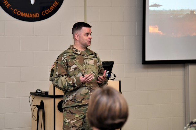 Maj. Gen. David J. Francis, USAACE and Fort Rucker commanding general speaks to leaders enrolled in the Aviation Pre-Command Course regarding the future of Army Aviation, during a special session Sep. 23.