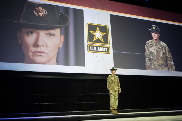 Sgt. 1st Class Chelsea Porterfield introduces herself to the audience during the opening ceremony of the Association of the U.S. Army Annual Meeting and Exposition in Washington, D.C., Oct. 14, 2019.