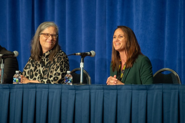 Elizabeth Groover discusses the value of connecting with other military spouses during a family forum at the Association of the U.S. Army 2019 Annual Meeting in Washington Oct. 14, 2019.