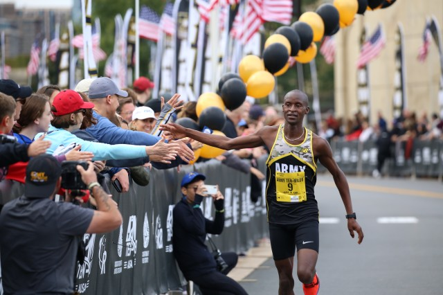Spc. Benard Keter finishing the 2019 Army Ten-Miler in second place with a time of 49:04. Keter was on the All-Army Ten Miler team and is currently a Soldier-athlete in the World Class Athlete Program.
