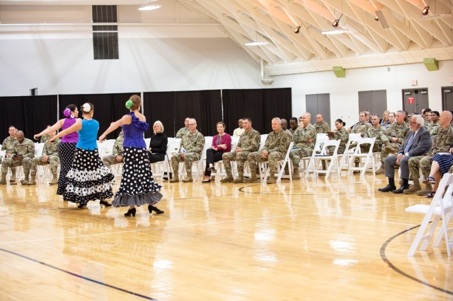 Leaders from U.S. Army Human Resources Command ended the command's observance of National Hispanic Heritage Month at Fort Knox Oct. 10, 2019, with traditional music performed by Wilfredo Marrero and authentic flamenco dancing and singing performed by the Flamenco Louisville.