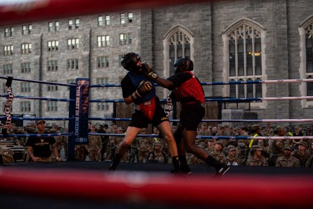 U.S. Military Academy cadets go toe-to-toe in the boxing ring during the 2019 Central Area Boxing Rumble in West Point, N.Y., Sept. 20, 2019.