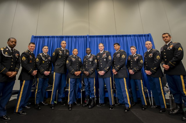 Eleven Soldiers, from units across the Army, came together to receive the first-ever Expert Soldier Badges Oct. 15, 2019, during the Eisenhower Luncheon at the Association of the U.S. Army's Annual Meeting and Exposition. They were awarded by Army Chief of Staff Gen. James C. McConville and Sgt. Maj. of the Army Michael A. Grinston.