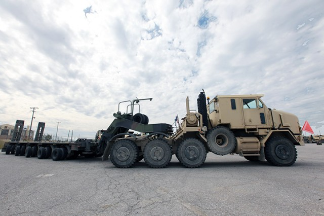 A 553rd CSSB Heavy Equipment Transporter Systems moves into position at the Fort Sill Twin Peaks motor pool Oct. 14, 2019.