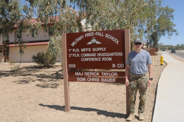 Maj. Derick Taylor jumped into the role of commander of the Military Free Fall School based at Yuma Proving Ground just two short months ago.