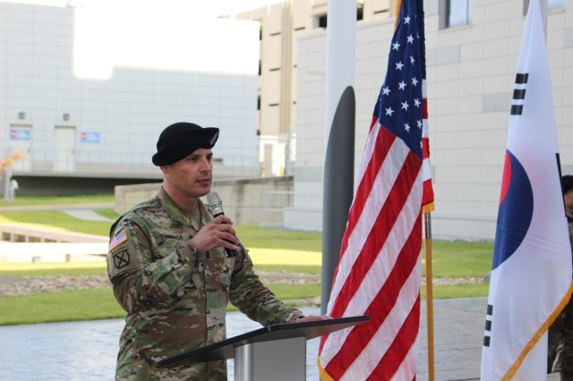 1st Sgt. Cummings, the outgoing First Sergeant, gives remarks