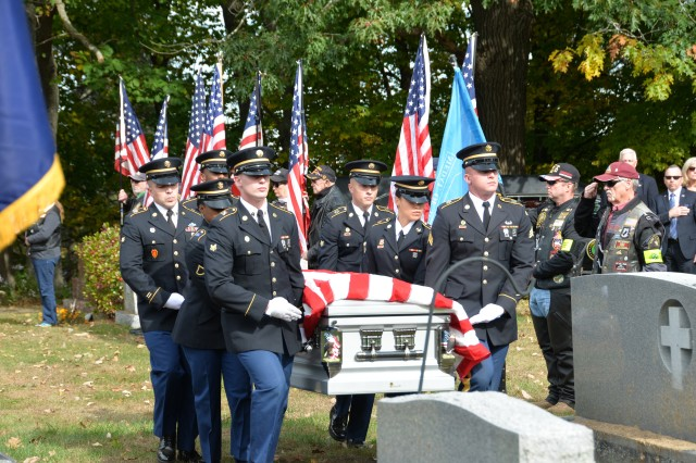 Members of the New York Military Forces Honor Guard provide military honors for the funeral service of Medal of Honor recipient Sgt. Francis S. Currey at the Mt. Pleasant Cemetery in South Bethlehem, N.Y., October 12, 2019. Currey, 94, from Selkirk, N.Y., died October 8. He received the Medal of Honor for valor displayed as an infantryman during the Battle of the Bulge in World War II.