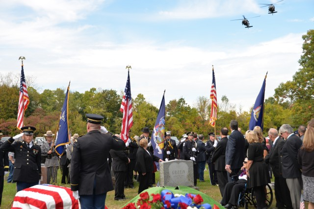 New York Army National UH-60 Black Hawk helicopters provide a funeral flyover during honors for the funeral service of Medal of Honor recipient Sgt. Francis S. Currey at the Mt. Pleasant Cemetery in South Bethlehem, N.Y., October 12, 2019. Currey, 94, from Selkirk, N.Y., died October 8. He received the Medal of Honor for valor displayed as an infantryman during the Battle of the Bulge in World War II. The two aircraft, assigned to the 3rd Battalion, 142nd Aviation Regiment, supported members of the New York Military Forces Honor Guard providing military honors for the funeral service.