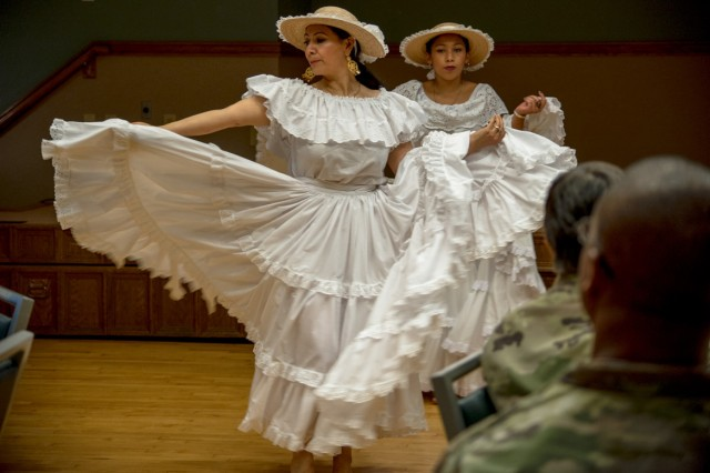 Dancers from Group Latino Americano out of Springfield, Missouri, perform at the National Hispanic Heritage Month Luncheon Oct. 10 at Pershing Community Center.