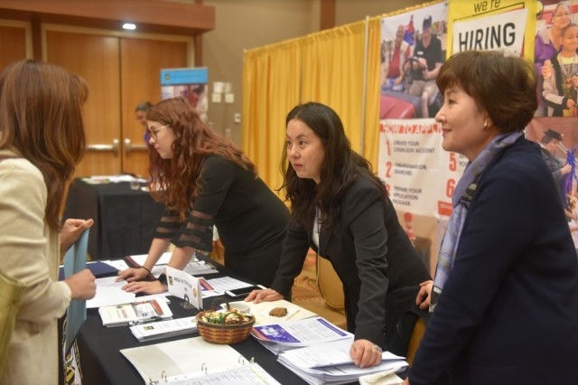 Hundreds of job seekers gathered for the Camp Humphreys Job Fair, Oct. 10, at the Morning Calm Conference Center. Vendors and organizations promoted their vacancies to more than 370 job-seeking members of the Humphreys community.