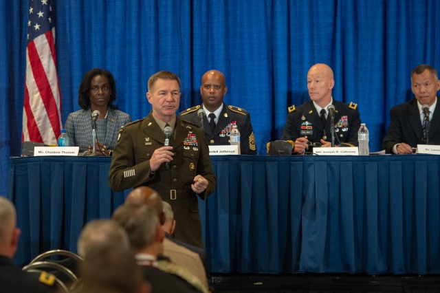 Army Chief of Staff Gen. James C. McConville outlines his views on managing the Army's talent during a contemporary military forum at the Association of the U.S Army Annual Meeting and Exposition in Washington, D.C., Oct. 16, 2019.