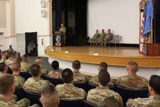FORT GEORGE G. MEADE, Md. - Command Sgt. Major James Krog, the senior enlisted leader for the 780th Military Intelligence Brigade (Cyber), was the guest speaker at a Noncommissioned Officer Induction ceremony at the Post Theater on October 16.