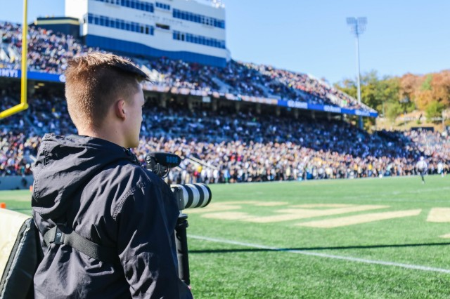Class of 2022 Cadet Kaden Carroll shoots video during the Army vs. Tulane game at Michie Stadium Oct. 5.
