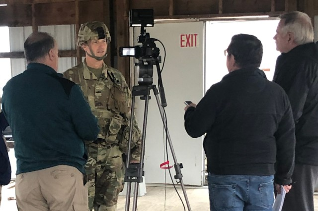 Brig. Gen. John Rhodes, the 29th Infantry Division Deputy Commanding General for Operations, participates in a mock media interview during the Warfighter exercise Sept. 25-Oct. 11, 2019, at Fort Indiantown Gap, Pennsylvania. More than 450 National Guard Soldiers assigned to the Fort Belvoir-based 29th Infantry Division from Virginia and Maryland, as well as Soldiers from seven other states came together to participate in the exercise whose purpose was to validate and synchronize the decisive, shaping, and sustaining operations from division down through the brigades and across all warfighting functions. (U.S. Army National Guard photo by Sgt. Marc Heaton)