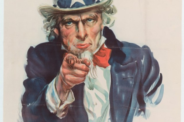 Uncle Sam recruitment poster, 1942. American artist James Montgomery Flagg created his iconic Uncle Sam image during World War I, but it was modified and used again during the Second World War because of its enduring popularity.
