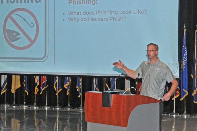 VDA Labs Information Security Engineer, Matthew Wilds, provides tips to employees at the Detroit Arsenal about protecting themselves in today's technological world Oct. 15. (Photo courtesy of TACOM Audio Visual Department)