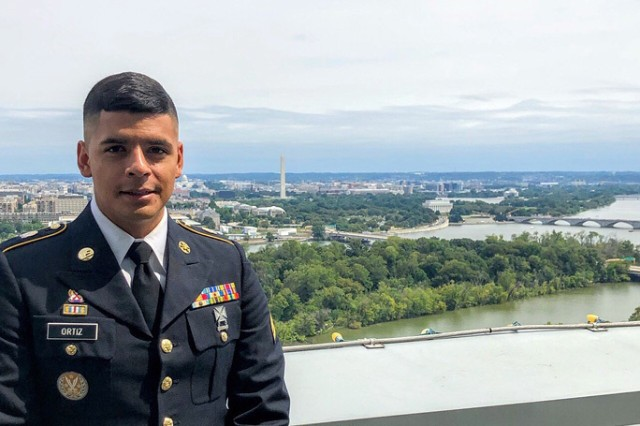 New York Army National Guard Sgt. Jhon Ortiz, shown outside the U.S. Capitol Sept. 5, 2019, received the State Department's Meritorious Honor Award for his actions in 2018 as part of the Baghdad Diplomatic Support Center to relocate the U.S. Embassy Consulate in Basra, Iraq.