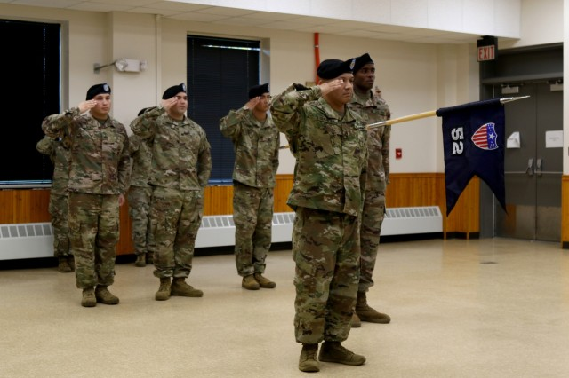 Soldiers from the 10th Mountain Division Sustainment Brigade, 10th Headquarters and Special Troops Battalion, 52nd Theater Gateway case their colors during a ceremony held Oct. 17, 2019, on Fort Drum, NY, in preparation for their upcoming deployment in support of Operation Inherent Resolve (OIR), Operation Spartan Shield (OSS), and Operation Freedom Sentinel (OFS).