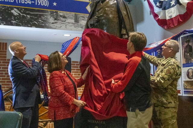 Maj. Gen. Daryl Bohac, Nebraska Governor Pete Ricketts, US Senator Deb Fischer, and US Senator Ben Sasse unveiled and welcomed a William Jennings Bryan statue to its new home at the Nebraska National Guard Museum in Seward, Neb., Oct. 11, 2019.  The statue of William Jennings Bryan was displayed in Statuary Hall of the U.S. Capitol from 1937 -- 2019, and was unveiled as the centerpiece of the Early Guard (1854-1900) section of the museum. Though he had no previous military experience, William Jennings Bryan helped recruit and organize the Third Nebraska Volunteer Infantry Regiment in 1898 for service during the Spanish - American War. Already famous as a former congressman and presidential nominee, Bryan enlisted as a private in the newly formed regiment. Governor Silas Holcomb later appointed Bryan as the regiment's commander with the rank of colonel. (Nebraska National Guard photo by Spc. Lisa Crawford)