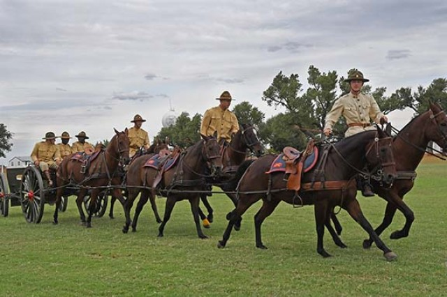 The Fort Sill Artillery Half Section puts on a demonstration during the Cavalry Competition at Fort Reno, Oklahoma, Sept. 25-28, 2019.