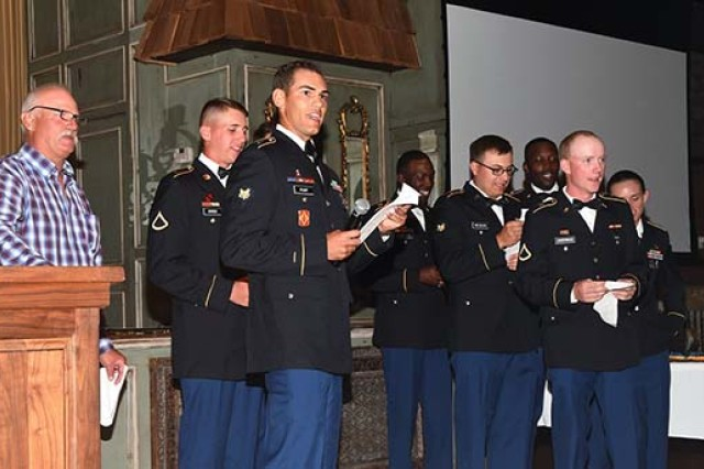The Fort Sill Artillery Half Section sings the artillery song during the awards banquet Sept. 28, 2019, at the Cavalry Competition.