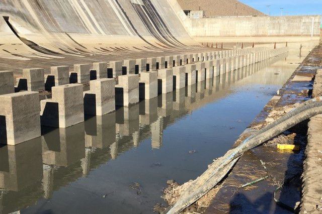 JOHN MARTIN RESERVOIR, Colo. -- View of the stilling basin as seen from the end sill. The baffle blocks are on the left, on the right are pump lines to remove water from the basin. Photo taken Jan. 10, 2019.