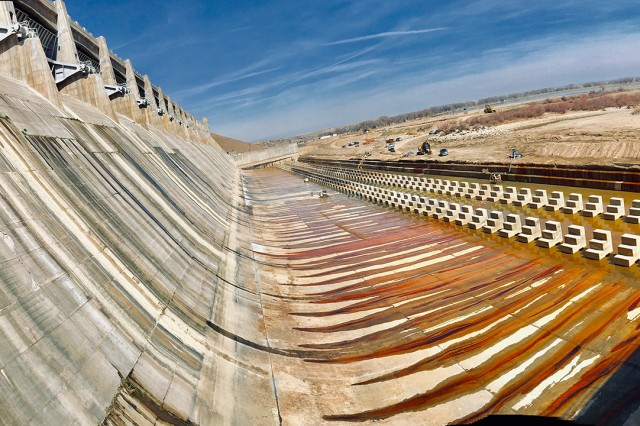 JOHN MARTIN RESERVOIR, Colo. -- Photo of the dewatered stilling basin, March 26, 2019.