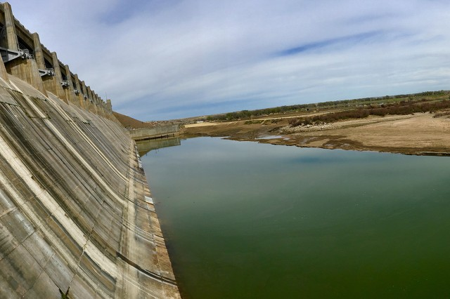 JOHN MARTIN RESERVOIR, Colo. -- Photo of the stilling basin with water in it after the inspection and repairs were completed, April 9, 2019.