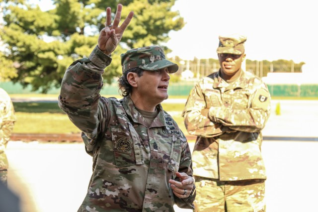 Command Sgt. Maj. Michele Johnson, the senior enlisted advisor of the 531st Hospital Center, briefs the unit on the missions ahead of them, Fort Campbell, Ky., Oct. 18, 2019. The 531st HC team is deploying in less than a week to support the National Training Center at Fort Irwin, California as part of an Emergency Deployment Readiness Exercise, which tests Army units with a short-notice deployment under emergency conditions. (U.S. Army photo by Spc. Beverly Roche, 40th Public Affairs Detachment)