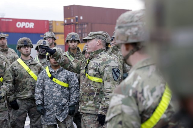 Lt. Col. Stephen Johnson, 1st Battalion 9th Cavalry Regiment, directs his Soldiers during a site walkthrough in Riga, Latvia October 14, 2019.The site walkthrough allowed the Soldiers to see where their equipment will be staged after it is downloaded from a cargo vessel.(U.S. Army photo by Sgt. Benjamin Northcutt 21st Theater Sustainment Command)
