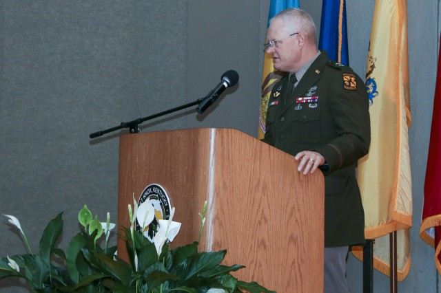 Maj. Gen. John R. Evans, Jr, Commanding General, Fort Knox and U.S. Army Cadet Command, the key note speaker gives remarks for the Fort Knox Army Education Center College Graduation Ceremony at Waybur Theater, Sept. 30, 2019 on Fort Knox, Ky. (U.S. Army photo by Spc. Zoran Raduka)