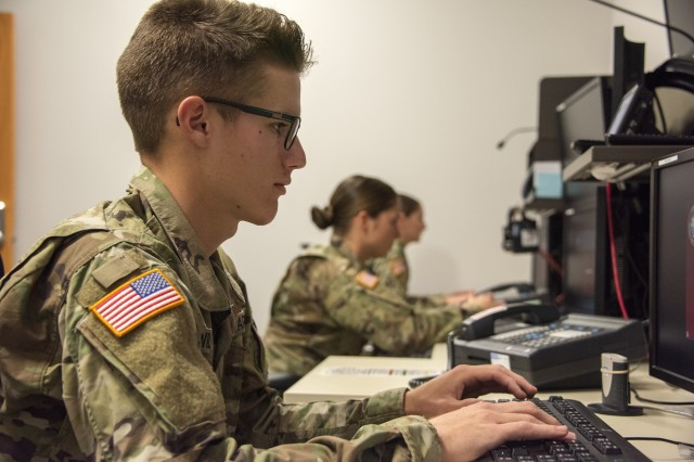Pvt. 2 Jacob Wilder, a student in a Joint Tactical Ground Station course at the U.S. Army Space and Missile Defense School, performs an exercise inside a mock JTAGS operations room in Colorado Springs, Colo., Aug. 30, 2019. Last year, the schoolhouse taught nearly 16,000 students in Colorado Springs and at home-station training.