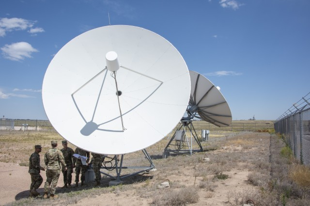 Students conduct training on a satellite dish as part of a Joint Tactical Ground Station course at the U.S. Army Space and Missile Defense School in Colorado Springs, Colo., Aug. 30, 2019. Last year, the schoolhouse taught nearly 16,000 students in Colorado Springs and at home-station training.
