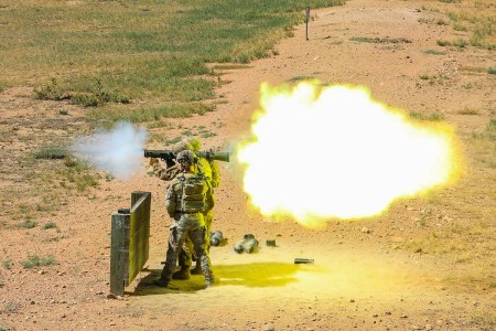 An infantryman fires a Carl Gustaf recoilless rifle system, Sept. 13, 2019, during a qualification range at Fort Carson, Colorado. The Soldier is assigned to Bravo Company, 2nd Battalion, 12th Infantry Regiment, 2nd Infantry Brigade Combat Team, 4th ...
