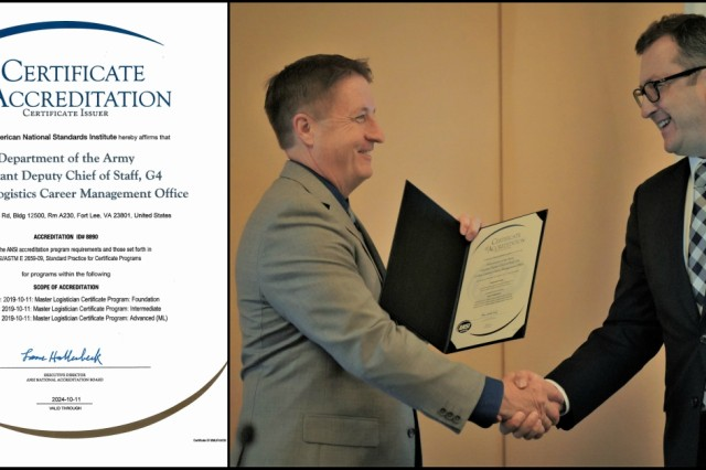 Mr. Moore was presented with the Certificate of Accreditation by Dr. Turan Ayvaz from ANSI during AUSA.