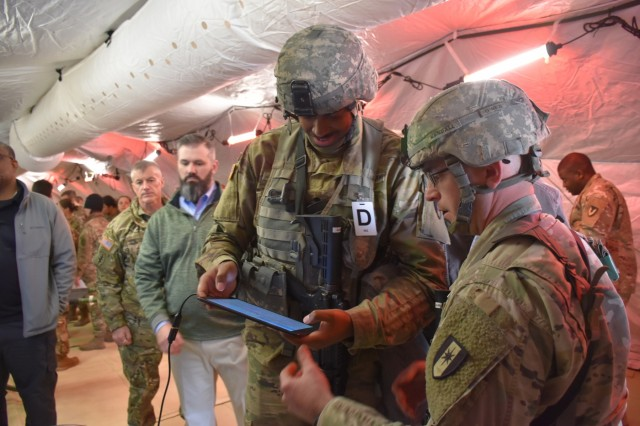 Soldiers with the 44th Medical Brigade use MEDHUB during an operational test and training exercise at Fort Bragg, North Carolina. The system is now undergoing a 24-month developmental test to prepare for fielding in 2021. (Photo by Ashley Force, USAMMDA Public Affairs)