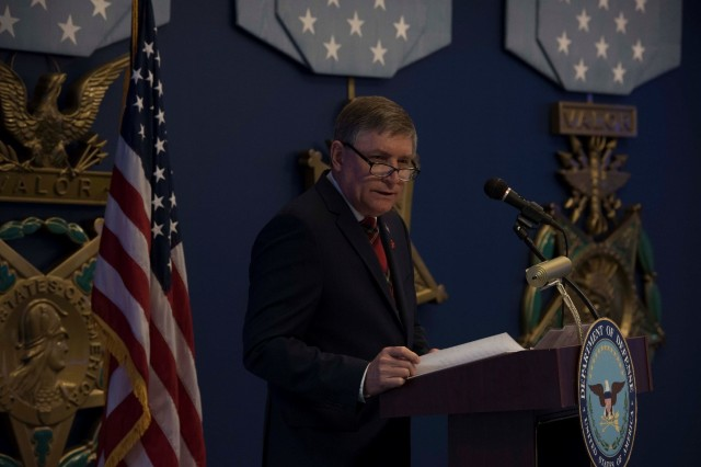 James N. Stewart, performing the duties of the Under Secretary of Defense for Personnel and Readiness, speaks to attendees during the 29th Annual DoD Red Ribbon Week Awards Ceremony at the Pentagon, Washington, D.C., Oct. 17, 2019.