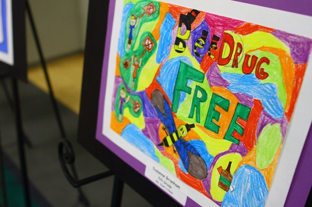 Award winning anti-drug posters created by Freedom Elementary School students were on display at the Red Ribbon Week kick off Oct. 22, 2019. The artists were recognized during the ceremony.