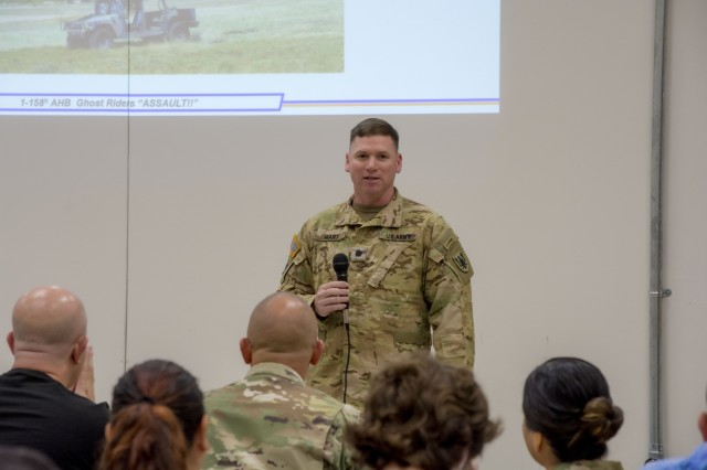 Lt. Col. Derrick Hart, commander of 1st Battalion, 158th Aviation Regiment, 11th Expeditionary Combat Aviation Brigade, provides the opening remarks during the Employee Support of the Guard and Reserve Boss Lift in Conroe, Texas, Oct. 19, 2019.